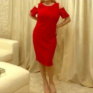 🆕 listing! Red cold shoulder Calvin Klien dress